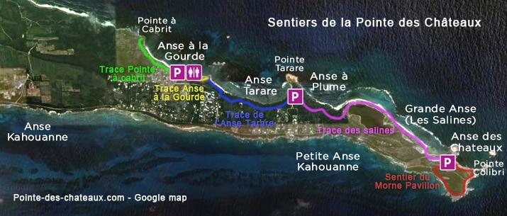 Les traces et sentiers de la Pointe des Chateaux en Guadeloupe